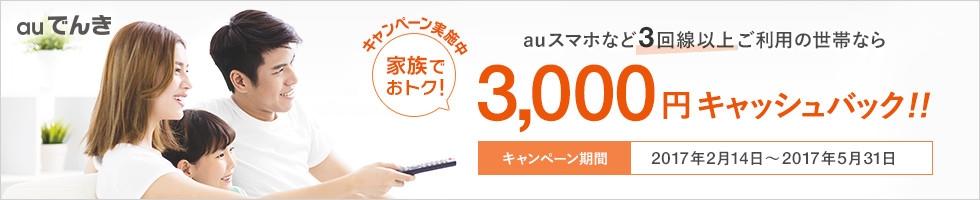 「auでんき」家族でおトクキャンペーン auスマホなど3回線以上ご利用の世帯なら3,000円キャッシュバッグ!