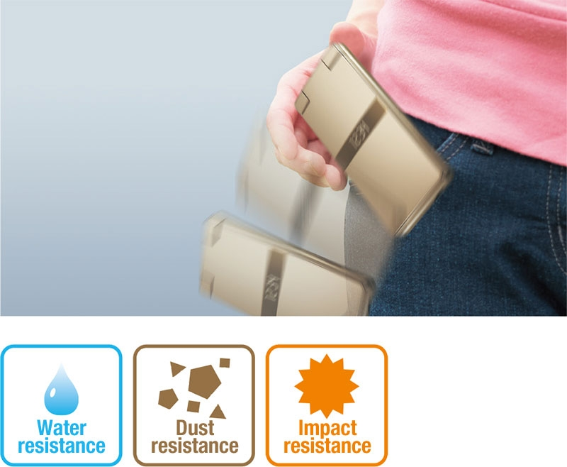 Resistant to water, dust, and impact