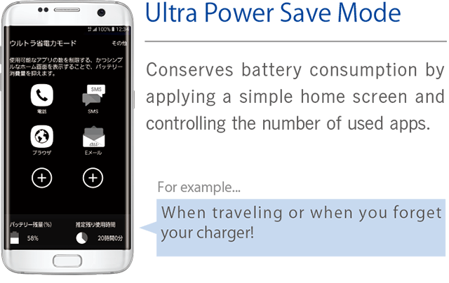 [Ultra Power Save Mode] Conserves battery consumption by applying a simple home screen and controlling the number of used apps.