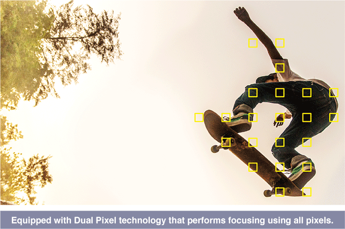 Equipped with Dual Pixel technology that performs focusing using all pixels.