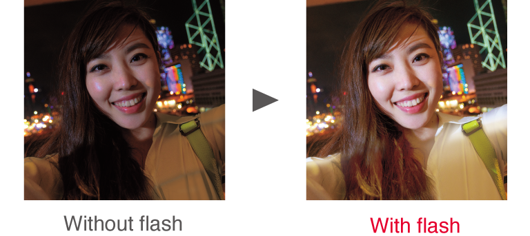 Without flash / With flash