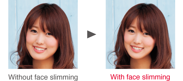 Without face slimming / With face slimming