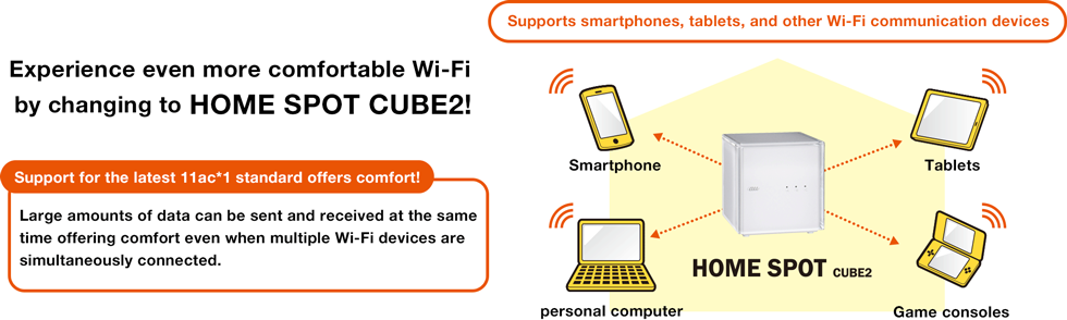 Experience even more comfortable Wi-Fi by changing to HOME SPOT CUBE2!