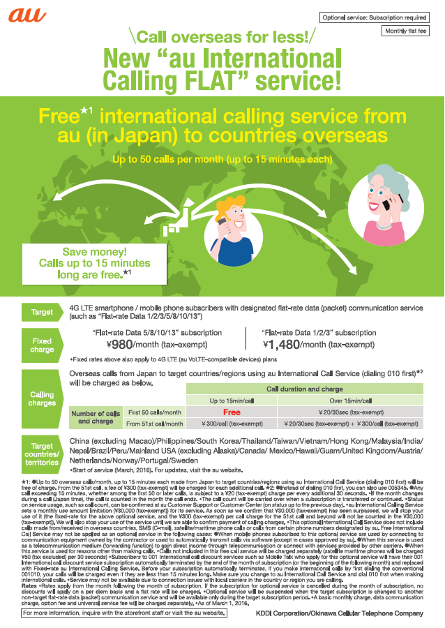 the International Calling Flat service