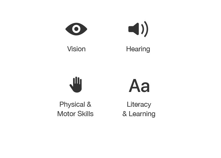 Vision / Hearing / Physical & Motor Skills / Literacy & Learning