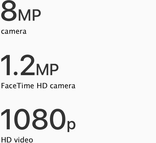 8MP camera/1.2MP FaceTime HD camera/1080p HD video