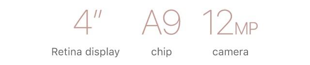 4inch Retina display/A9 chip/12MP camera