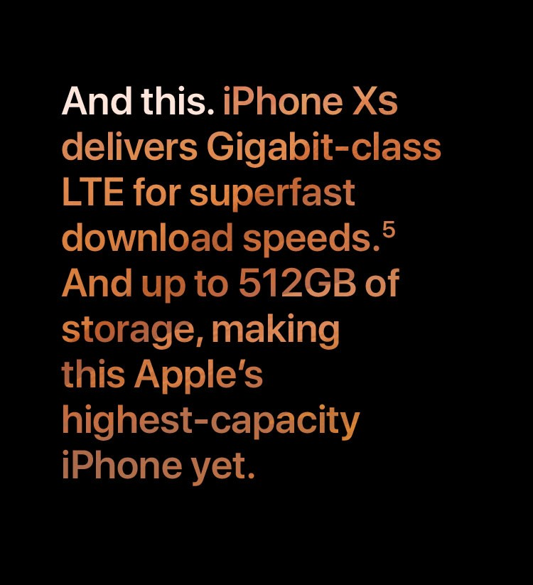 And this. iPhone XS delivers Gigabit-class LTE for superfast download speeds.5 And up to 512GB of storage, making this Apple's highest-capacity iPhone yet.