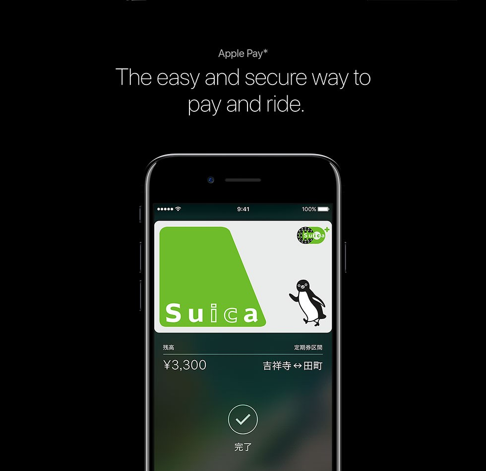 Apple Pay* The easy and secure way to pay and ride.