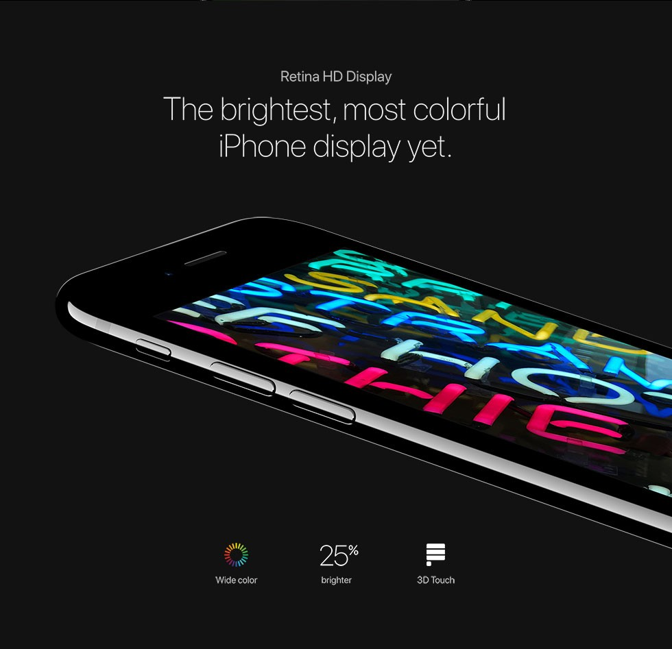 Retina HD Display The brightest, most colorful iPhone display yet. Wide color/25% brighter/3D Touch