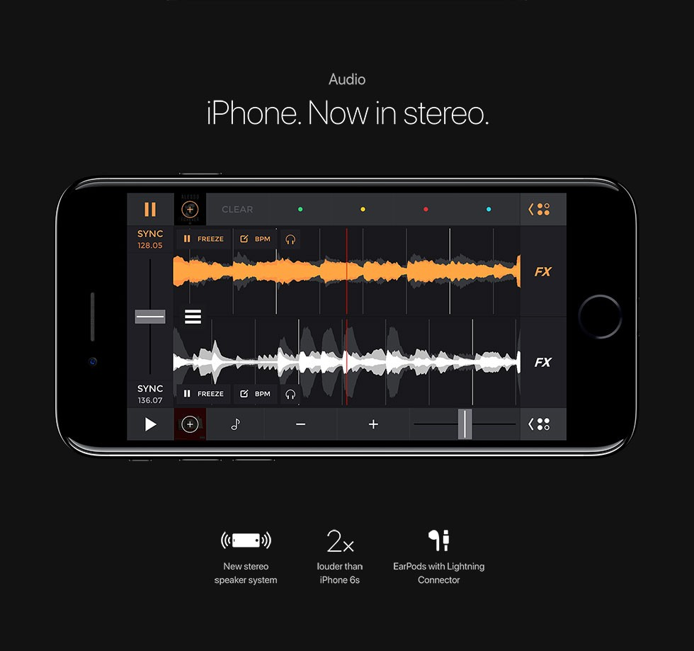 Audio iPhone. Nowinstereo. New stereo speaker system/2x louder than iPhone 6s/EarPods with Lightning Connector