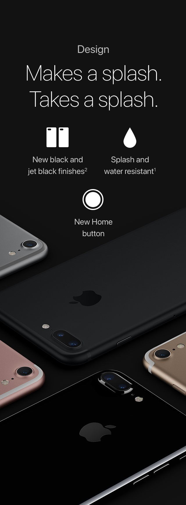 Design Makes a splash. Takesasplash. New black and jet black finishes2/Splash and water resistant1/New Home button