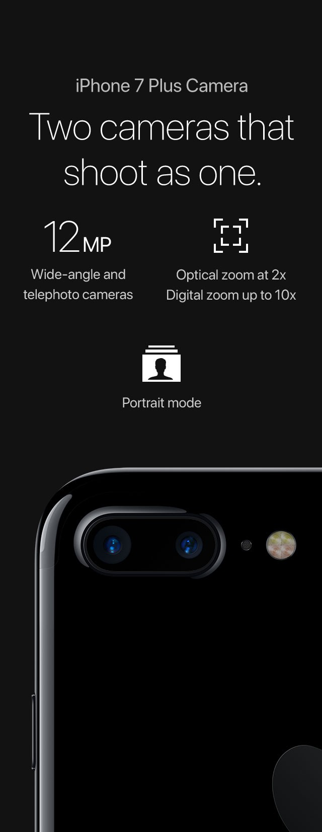 IPhone 7 Plus Camera Two Cameras That Shoot As One 12MP Wide Angle And