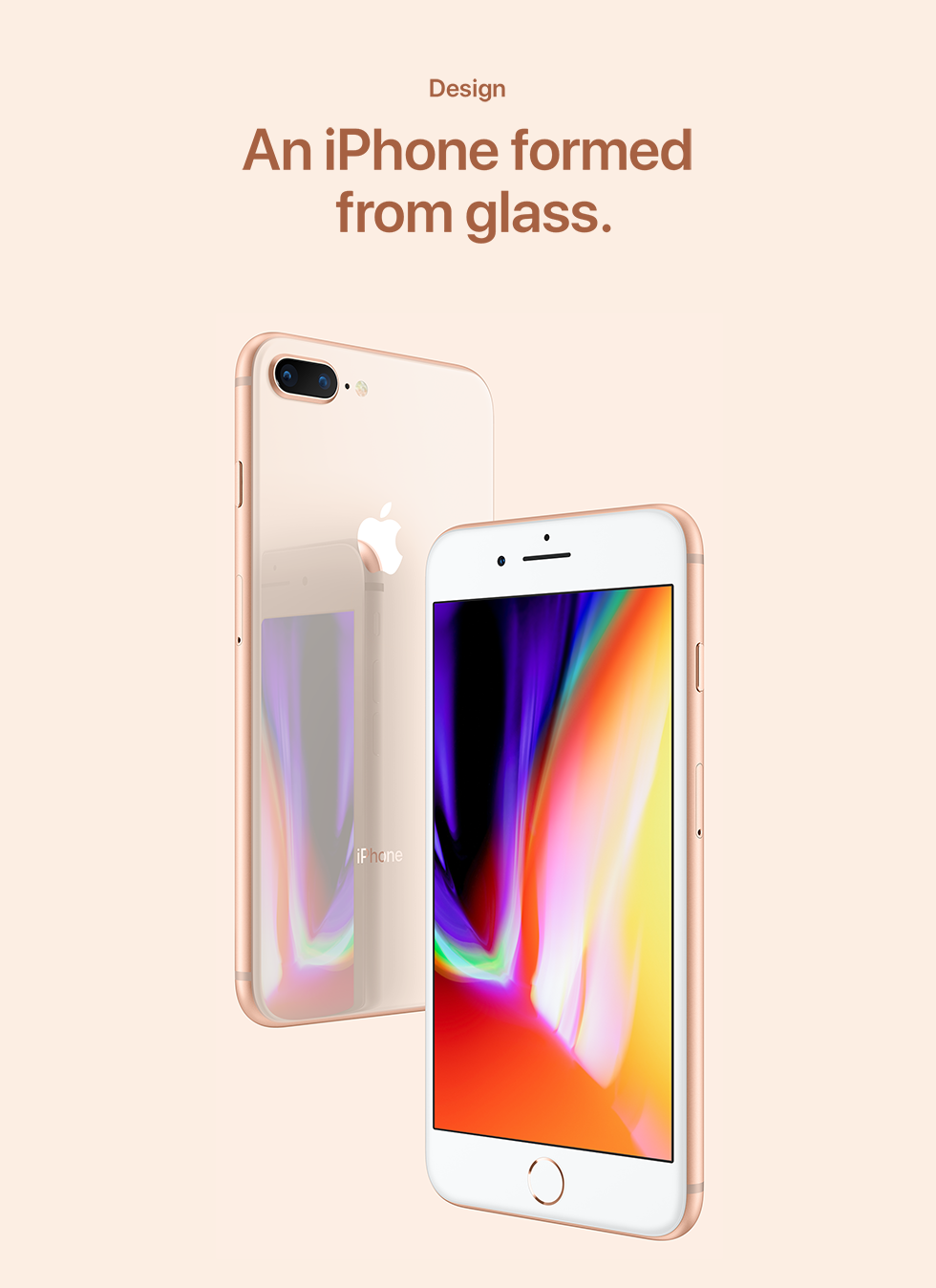 Design  An iPhone formed from glass.