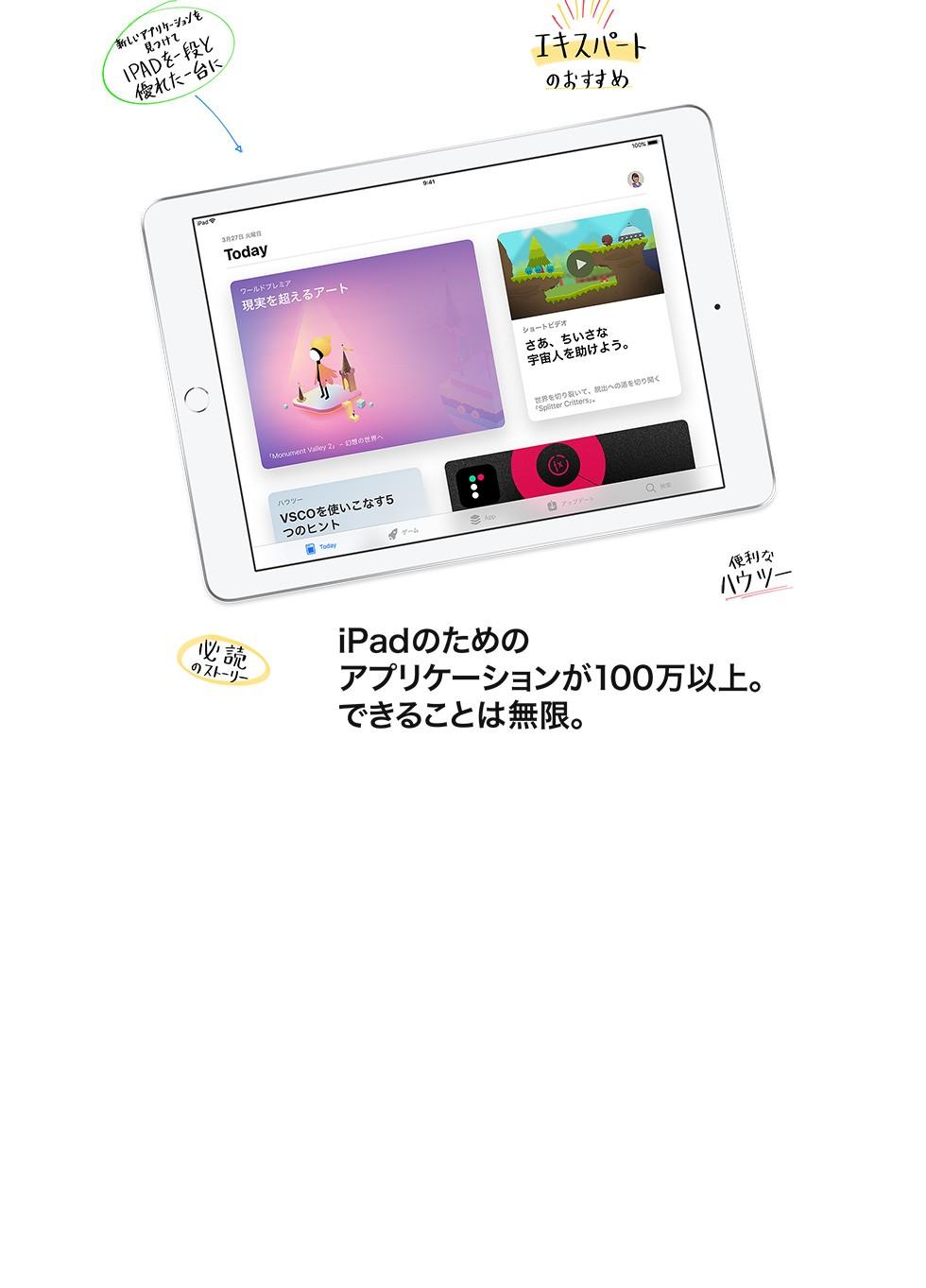 iPadのためのアプリケーションが100万以上。できることは無限。