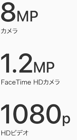 8MP カメラ 1.2MP FaceTime HDカメラ 1080p HDビデオ