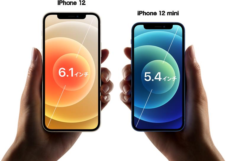 iPhone 12と12 miniの比較画像