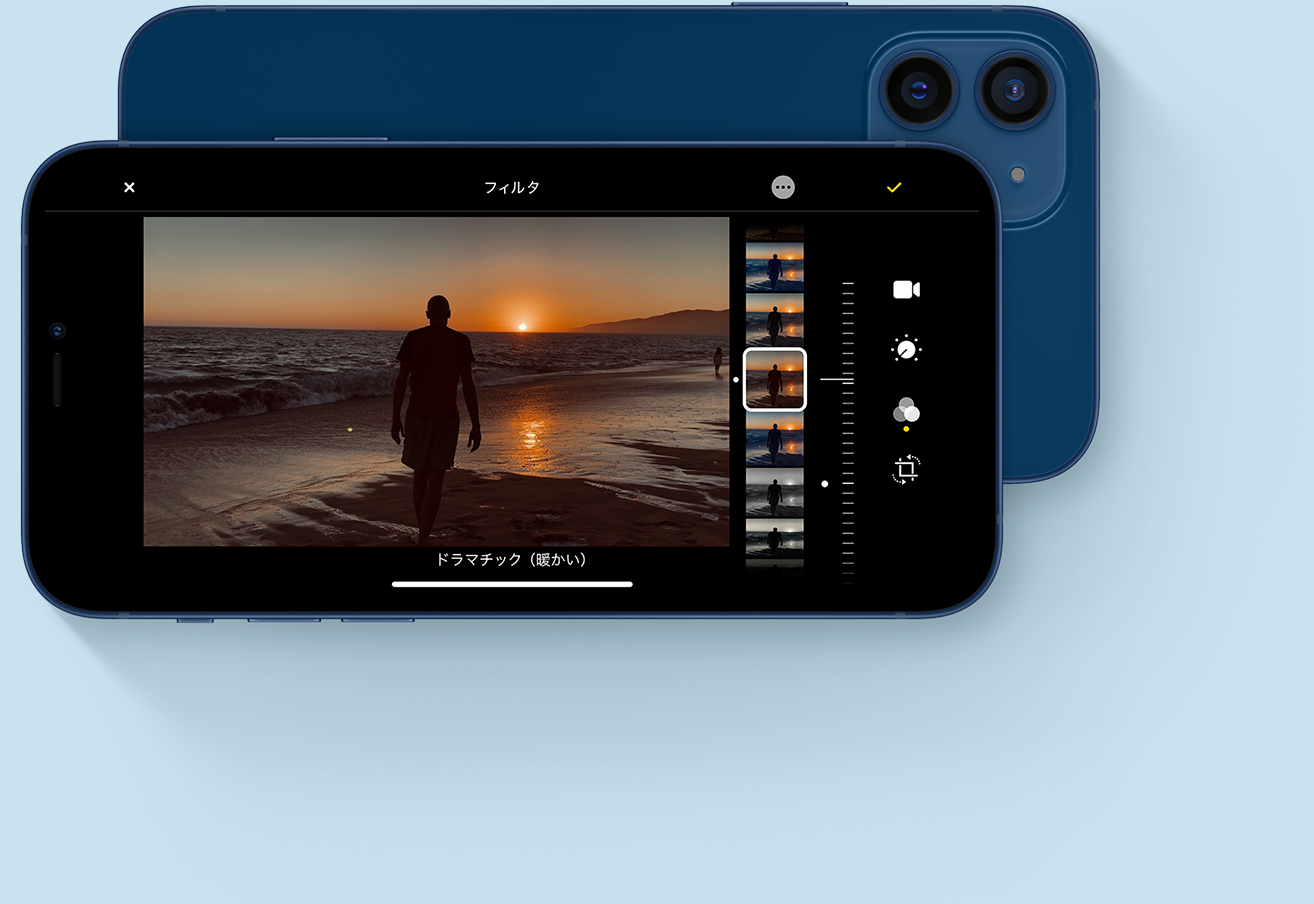 iPhone 12のドラマチック撮影画面