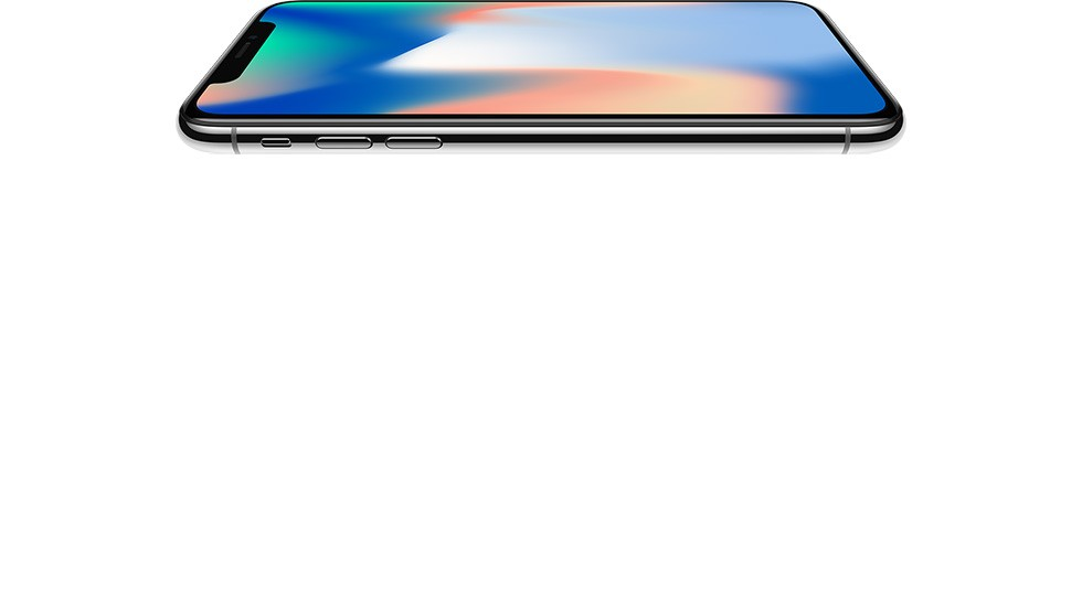 iPhone X シルバーを横に倒し、画面を上に向けた画像