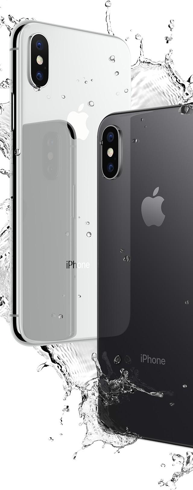 iPhone X シルバー、スペースグレイが水をはじいている画像