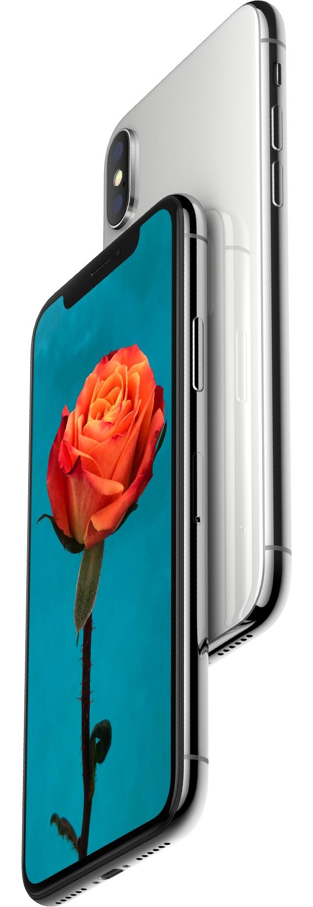iPhone X シルバーの画面にオレンジ色のバラの花びらが1枚1枚くっきりと、茎の棘も1つ1つコントラストがはっきりと写っている画像