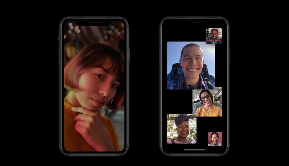 iPhone XR(テン アール)のオールスクリーンのデザイン例:写真・グループFaceTime。