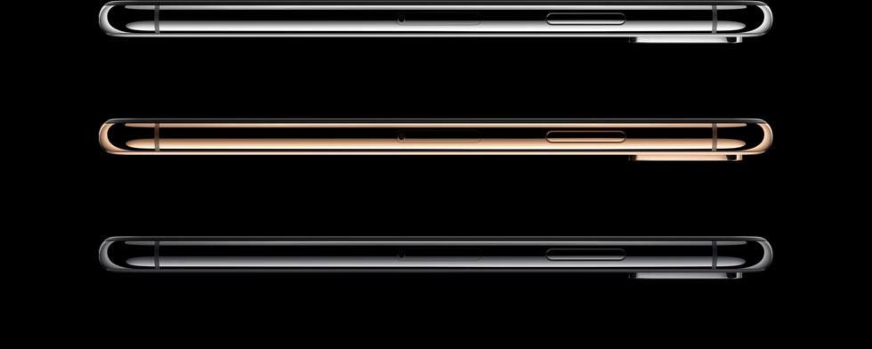 iPhone XS・iPhone XS Max シルバー・ゴールド・スペースグレイのステンレススチール製フレーム右側面が縦に等間隔に並んでいる画像