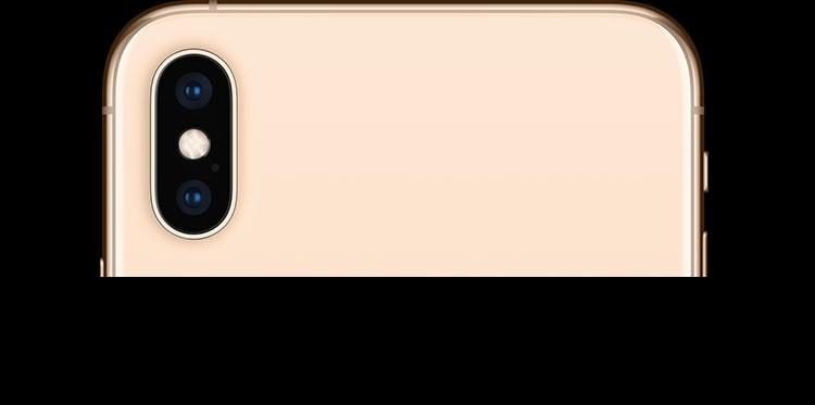 iPhone XS・iPhone XS Max ゴールドの背面上部、デュアル12MPバックカメラが写っている画像