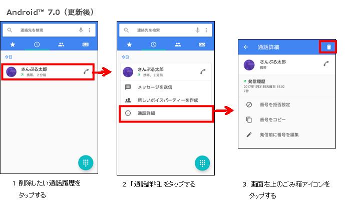 電話アプリの通話履歴の削除方法イメージ