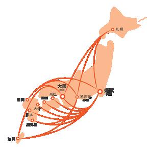 国内LCC最多16路線のイメージ