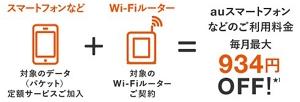Wi-Fiルーターとセットで、au携帯電話のご利用はおトクに!