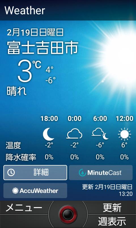 OUTDOOR PORTAL 天気(イメージ図)