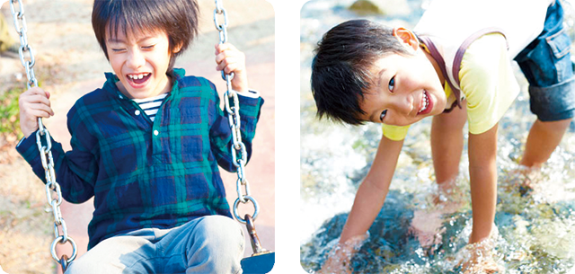 イメージ:外で遊んでいるときも安心の丈夫な設計。