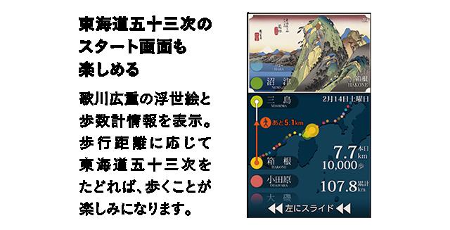 東海道五十三次のスタート画面も楽しめる