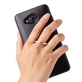 Qua phone PX リング付きハイブリッドカバー/ブラックの画像