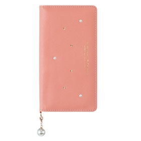 Qua phone QX パールチャーム付きブックタイプケース / ピンク