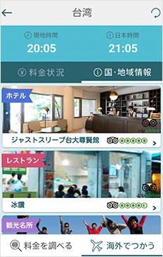観光やグルメ情報の画面