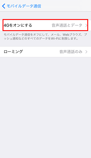 「4Gをオンにする」を選択のイメージ